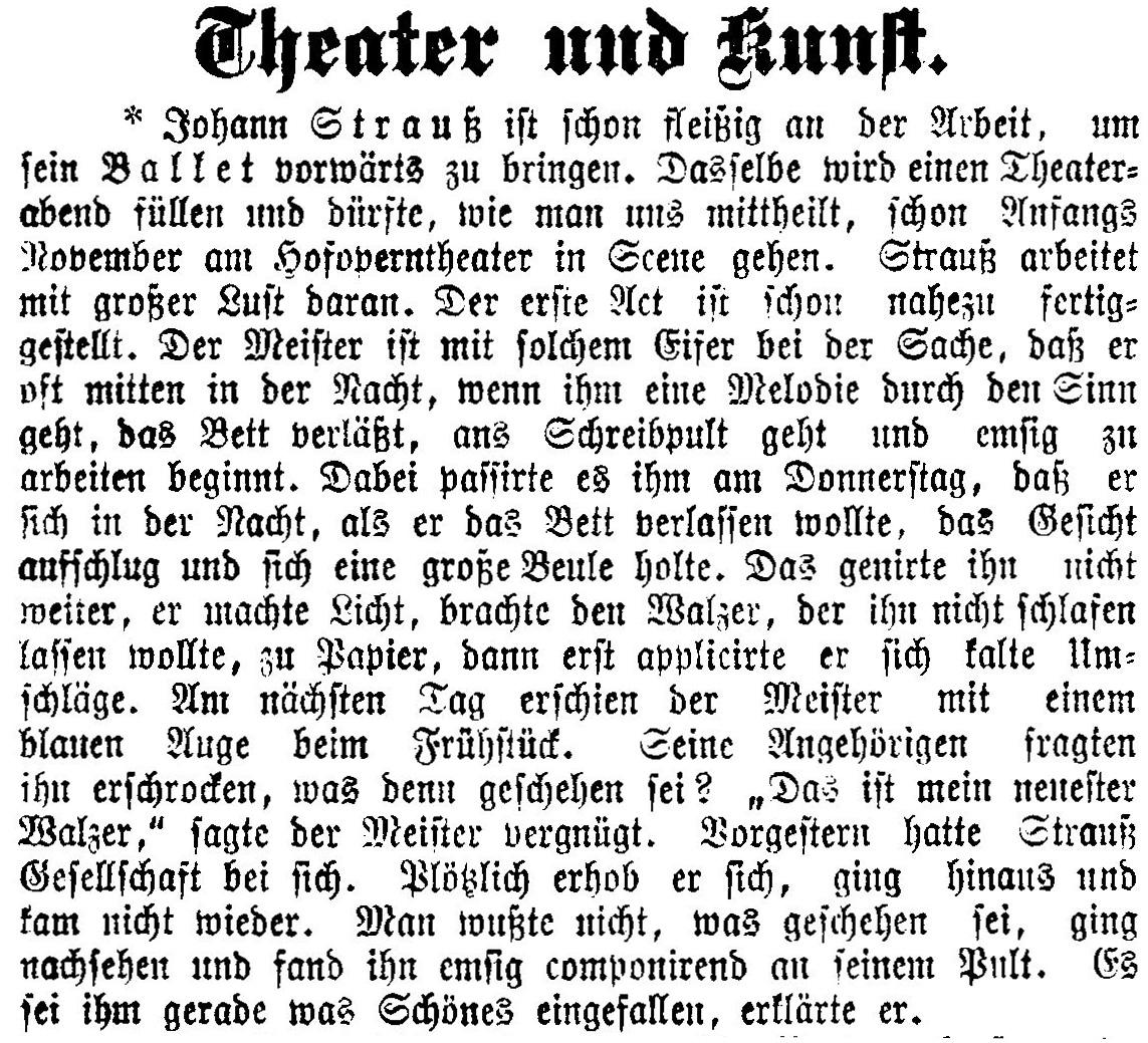 Strauss Aschenbrödel 1 Akt fertig 28 Februar 1899 aus